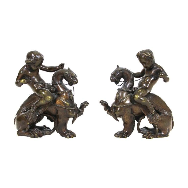 Victor Paillard French Bronze Putti Riding Chimera For Sale