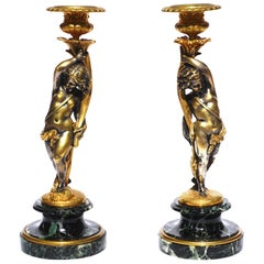 Victor Paillard Silvered and Gilt Bronze Candlesticks