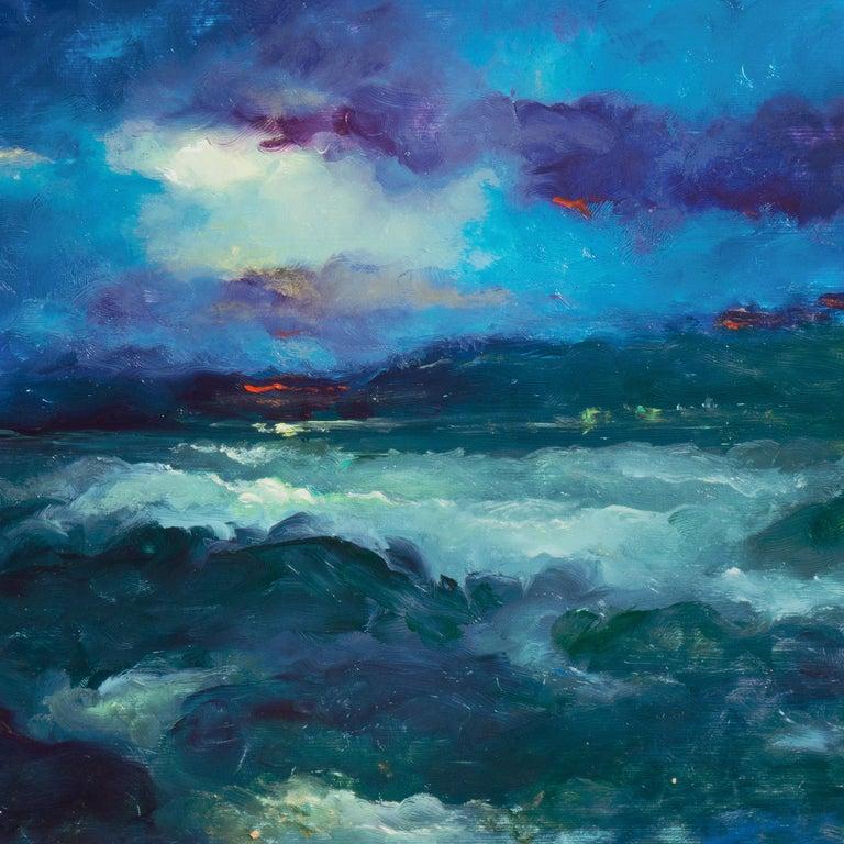 Impressionist seascape, 'Sunset, San Francisco Bay' - Blue Landscape Painting by Victor Papkov