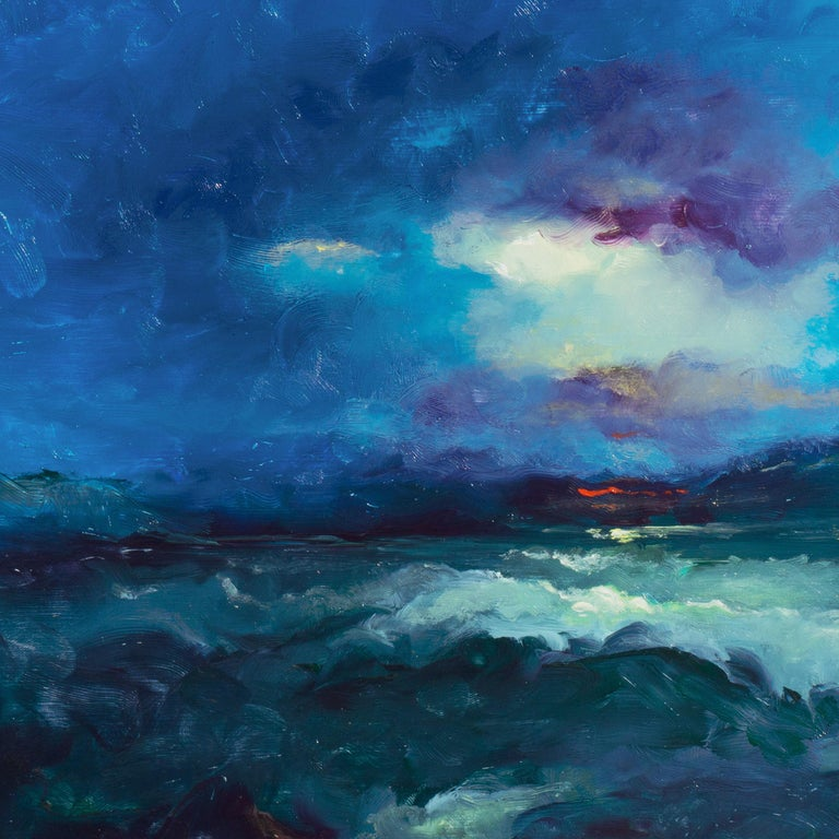 Signed lower right and dated 1988; certification of authenticity stamped verso.   A dramatic Impressionist oil seascape showing late sunset off the San Francisco coast with the last glimmers of reflected sun in storm clouds above a turbulent ocean.