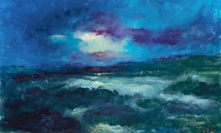 Victor Papkov Landscape Painting - Impressionist seascape, 'Sunset, San Francisco Bay'