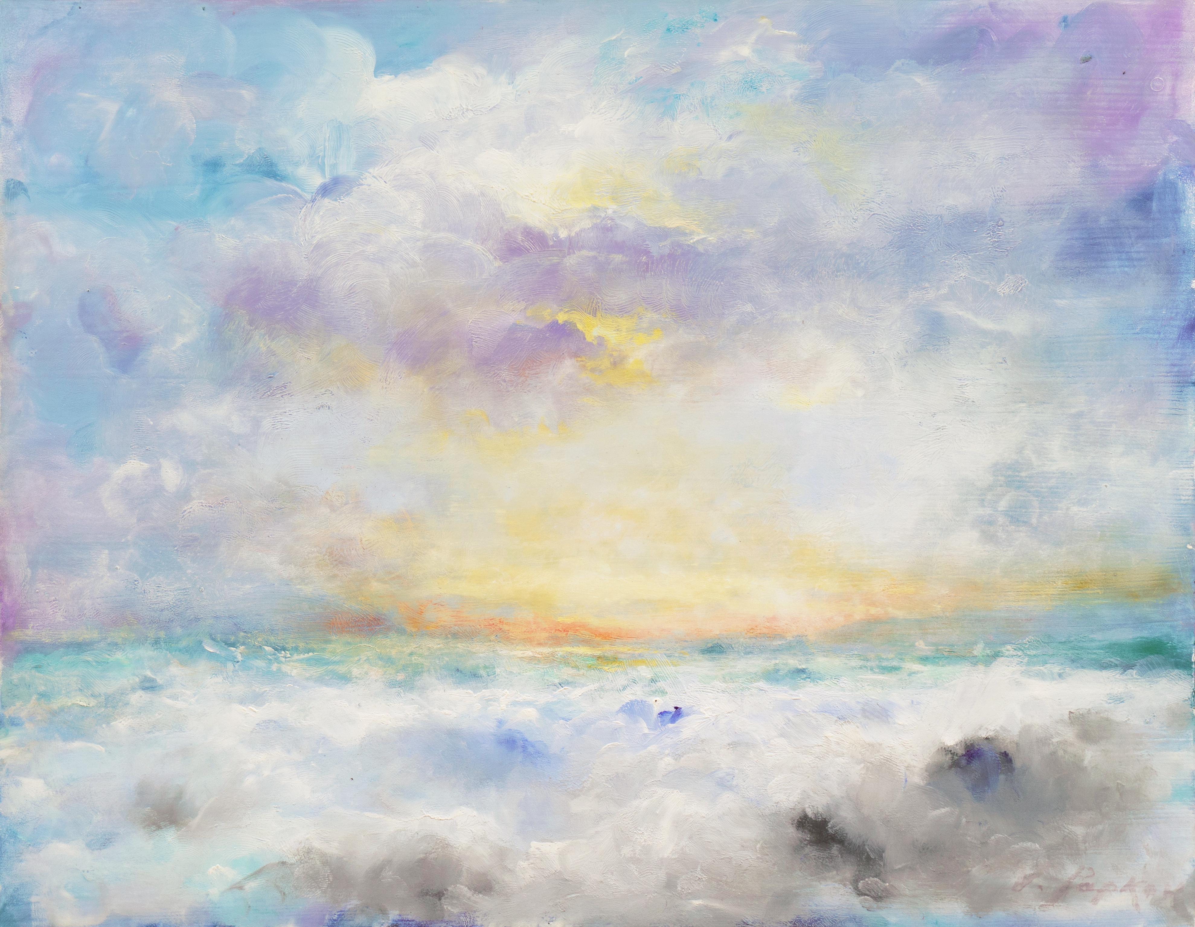 'Sunset, San Francisco Bay', Impressionist Seascape, Russian American