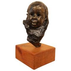 Victor Prouvé Child's Head in Bronze Former Jean Prouvé Collection, 8 Copies