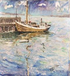 'A Fishing Boat at Dawn', Danish Post-Impressionist Oil, Weilbach Kunstleksikon