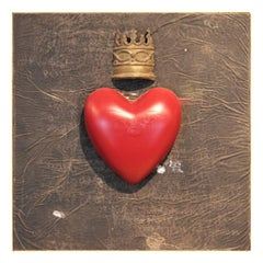 Abstract Red Heart and Gold Crown Square Mixed Media Contemporary Wall Sculpture