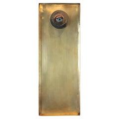 Abstract Surrealist Eyeball Metal Mixed Media Contemporary Wall Sculpture