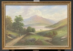 Loch Lomond Scottish Highlands Loch Scene, Signed Antique Oil Painting
