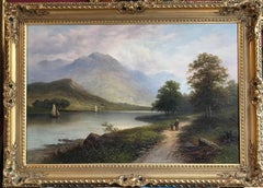 Scottish Loch Scene Sailing Boats, Signed Antique Oil Painting