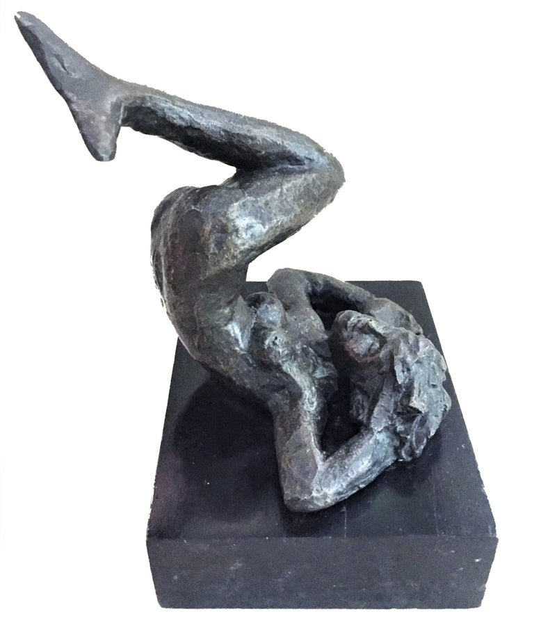 """Signed en verso. Original wood base. Dimensions (incl. base): 7-1/8"""" high x 6-1/4"""" wide x 5-5/8 deep  Victor Salmones (Mexican, 1937 - 1989) was the most widely known sculptor living and working in Mexico during his lifetime. His sculptures won"""