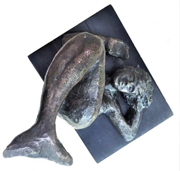 Victor Salmones, Mermaid, Patinated Bronze Sculpture, circa 1960s In Good Condition For Sale In New York, NY