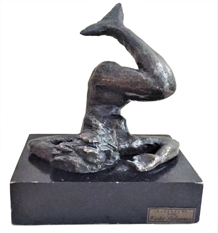 Victor Salmones, Mermaid, Patinated Bronze Sculpture, circa 1960s For Sale 1
