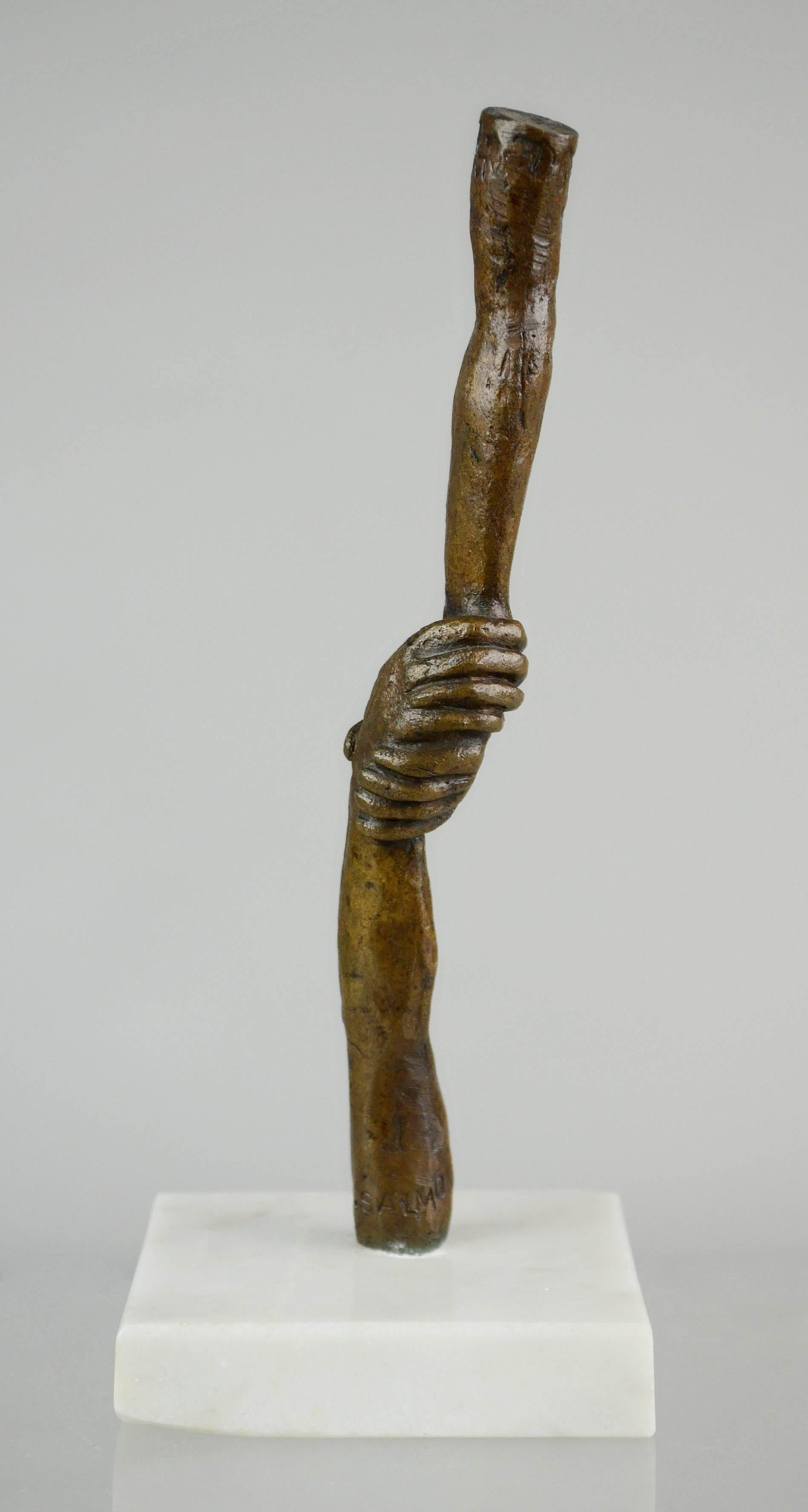 Bronze and Marble Sculpture Totem, Hands Embracing Surrealist Mexican Modernist