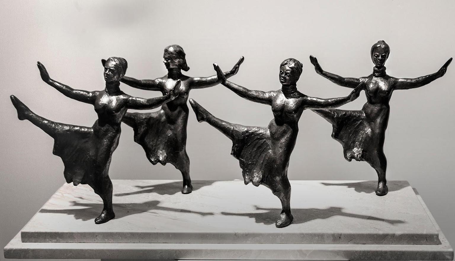 """'Pas de Quatre"""" Balle Dancers Bronze Sculpture"""