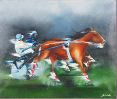 Horse Race, the Sulky  - Original Oil on Canvas Handsigned