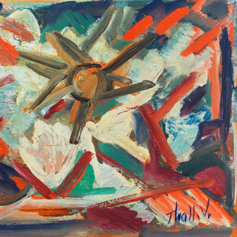 'Abstract, Coral and Ivory', New York School Abstraction, Whitney Museum, WPA - Brown Abstract Painting by Victor Thall