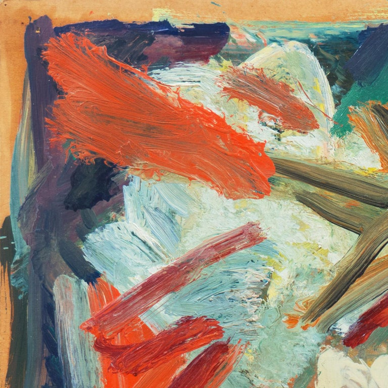 Signed lower right, 'Thall V' for Victor Thall (American, 1902-1983) and painted circa 1950.  A mid-century, abstract oil comprising a centrally placed and expansive star-shaped form accompanied by jagged, linear elements and superimposed on a