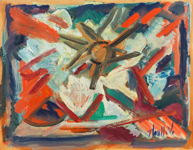 Victor Thall Abstract Painting - 'Abstract, Coral and Ivory', New York School Abstraction, Whitney Museum, WPA