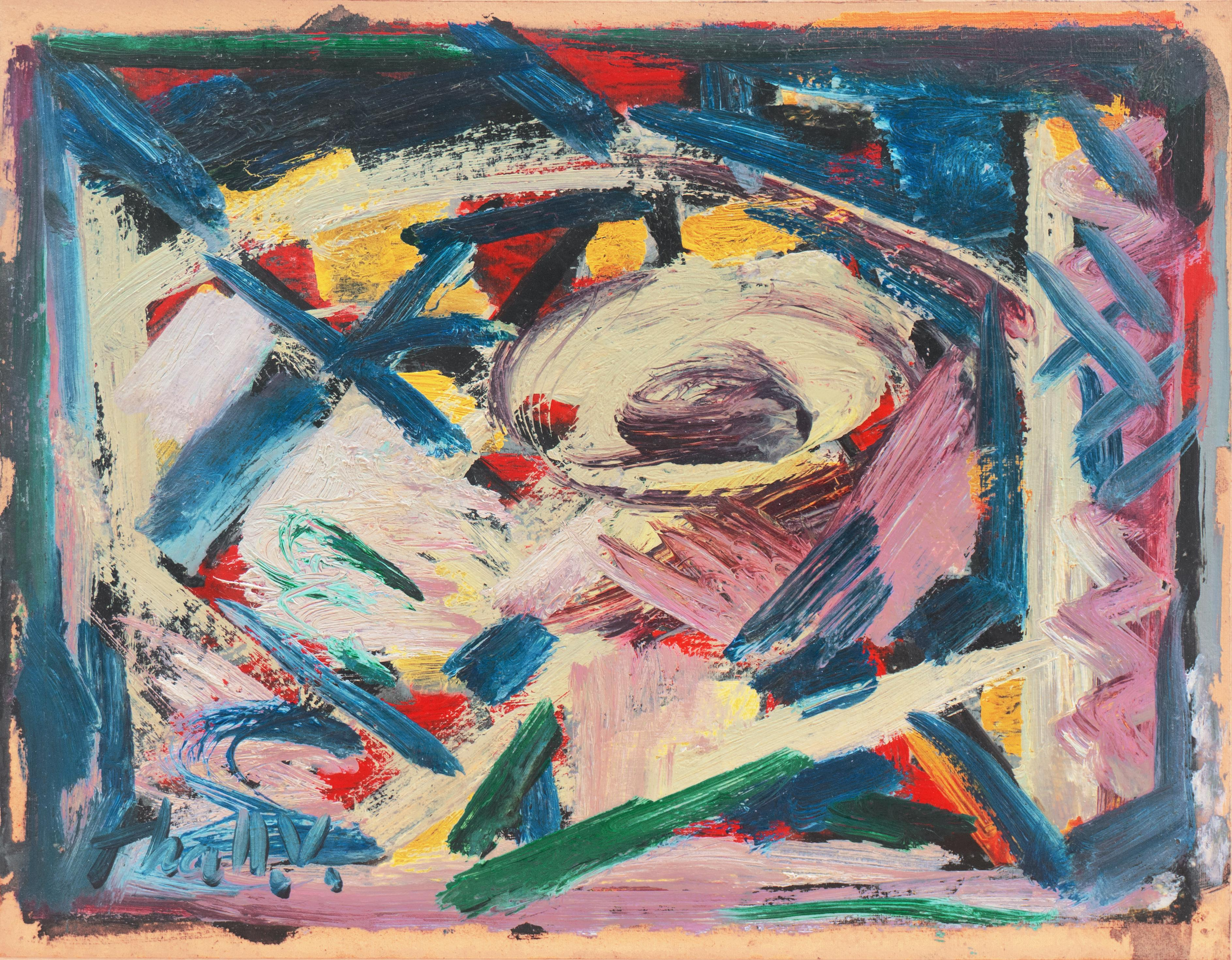 'Abstract, Lilac and Blue', Mid-Century, New York School, Whitney Museum, WPA