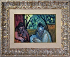 """""""Couple Holding a Baby"""" Colorful expressionist painting"""