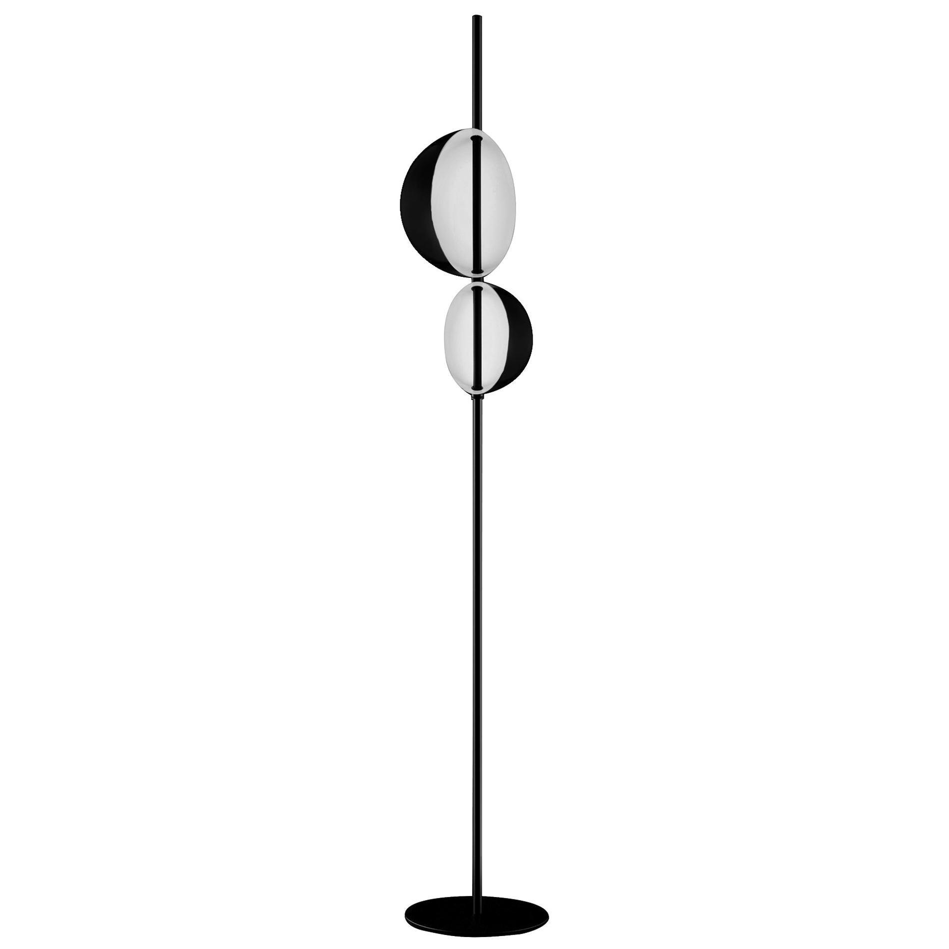 Victor Vaisilev Black Floor Lamp 'Superluna' by Oluce