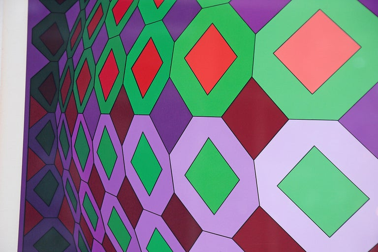 Victor Vasarely Vega-Dombokta '1978' Screenprint in Colors 45/250 For Sale 5