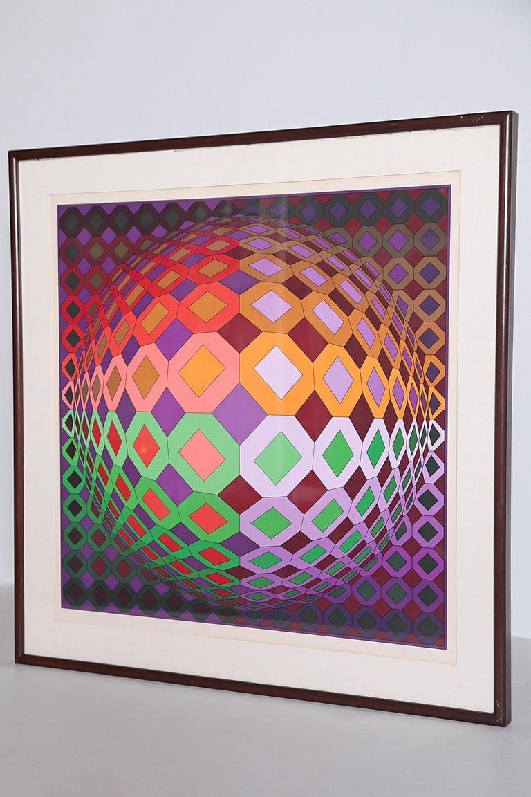 Victor Vasarely Vega-Dombokta '1978' Screenprint in Colors 45/250 For Sale 8