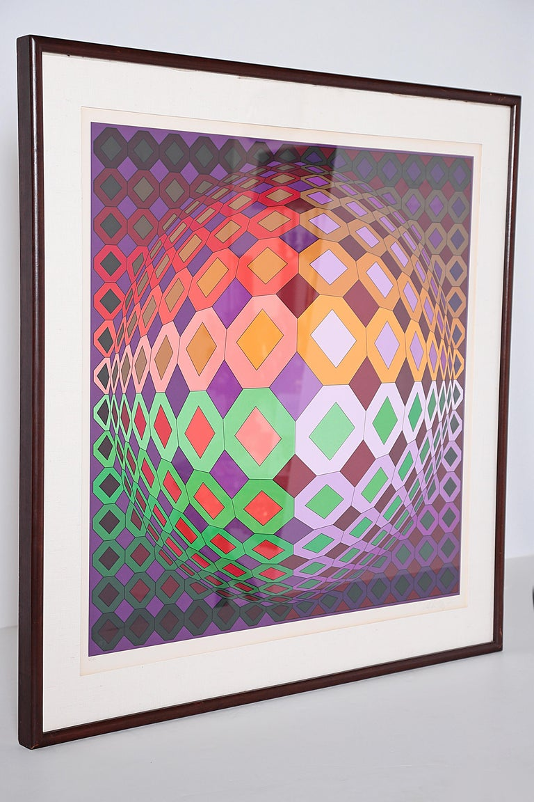 Victor Vasarely Vega-Dombokta '1978' Screenprint in Colors 45/250 For Sale 9