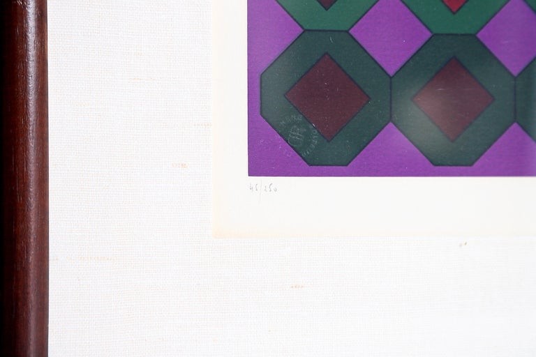 Victor Vasarely Vega-Dombokta '1978' Screenprint in Colors 45/250 For Sale 10