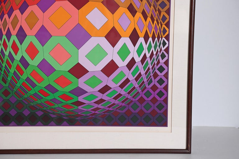 Mid-Century Modern Victor Vasarely Vega-Dombokta '1978' Screenprint in Colors 45/250 For Sale