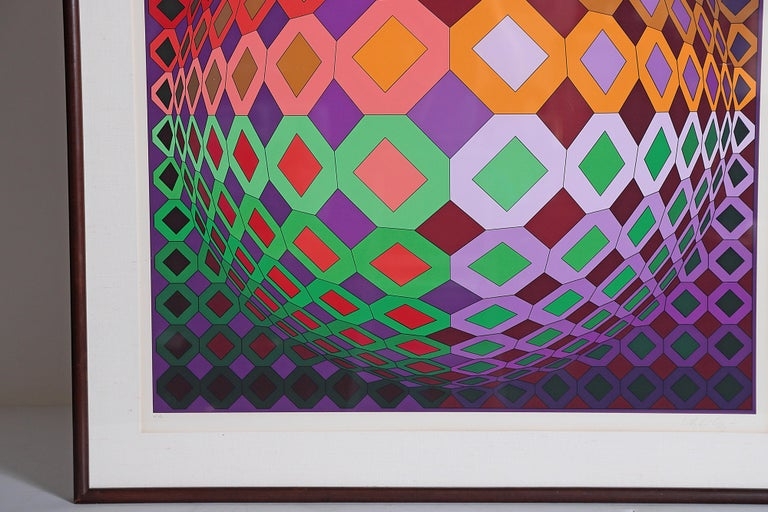 American Victor Vasarely Vega-Dombokta '1978' Screenprint in Colors 45/250 For Sale