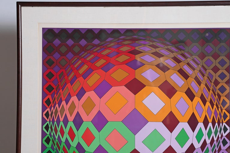 Victor Vasarely Vega-Dombokta '1978' Screenprint in Colors 45/250 In Good Condition For Sale In Dallas, TX