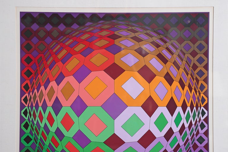 Late 20th Century Victor Vasarely Vega-Dombokta '1978' Screenprint in Colors 45/250 For Sale