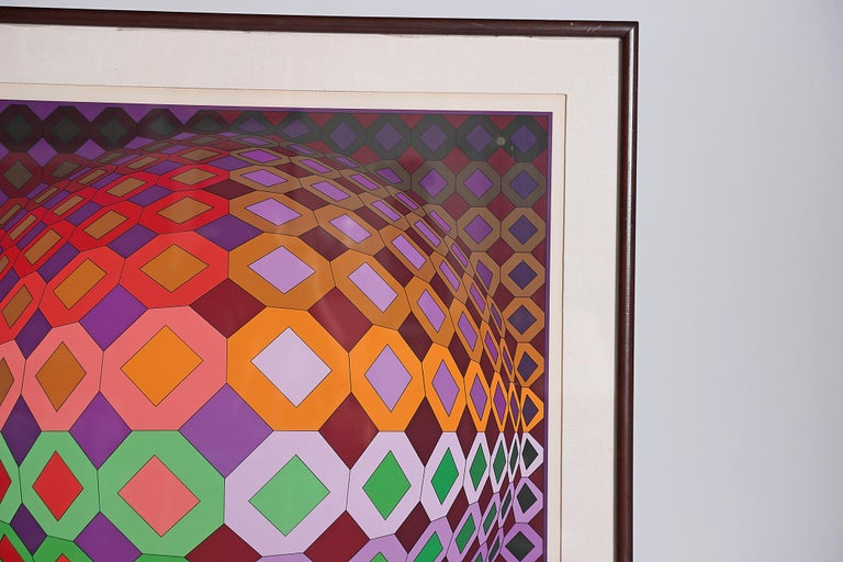 Paper Victor Vasarely Vega-Dombokta '1978' Screenprint in Colors 45/250 For Sale