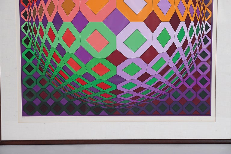Victor Vasarely Vega-Dombokta '1978' Screenprint in Colors 45/250 For Sale 1