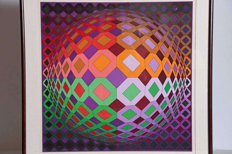 Victor Vasarely Vega-Dombokta '1978' Screenprint in Colors 45/250 For Sale 2