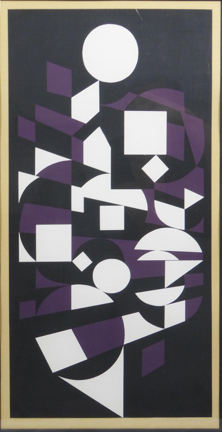 Handsome 1970s Victor Vasarely black, white and purple Cubist lithograph. Signed on the back. Vasarely was a prolific Hungarian/French Op Artist.