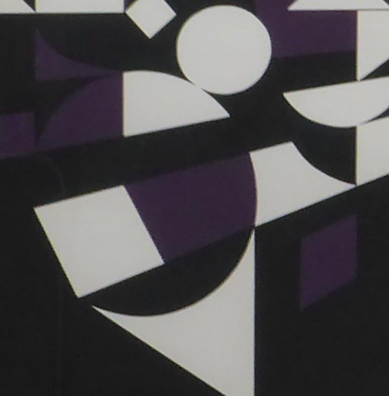 French Victor Vasarely Black, White and Purple Cubist Lithograph For Sale