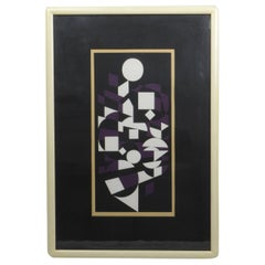 Victor Vasarely Black, White and Purple Cubist Lithograph