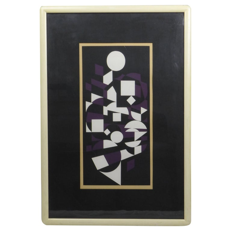 Victor Vasarely Black, White and Purple Cubist Lithograph For Sale