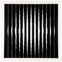 """Victor Vasarely, """"Bora D"""", Silkscreen on Wove Paper, 1968, Framed, Museumglass"""