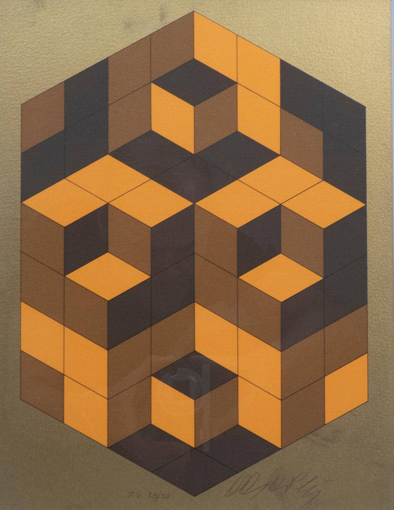 Signed cubist lithograph by Hungarian/French Op Art artist Victor Vasarely.