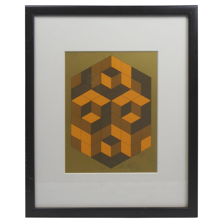 Victor Vasarely Cubist Lithograph For Sale