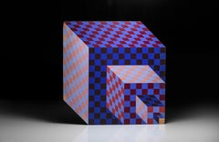 Victor Vasarely Felhoe Hand Acrylic Painted Wood Sculpture Signed Certified