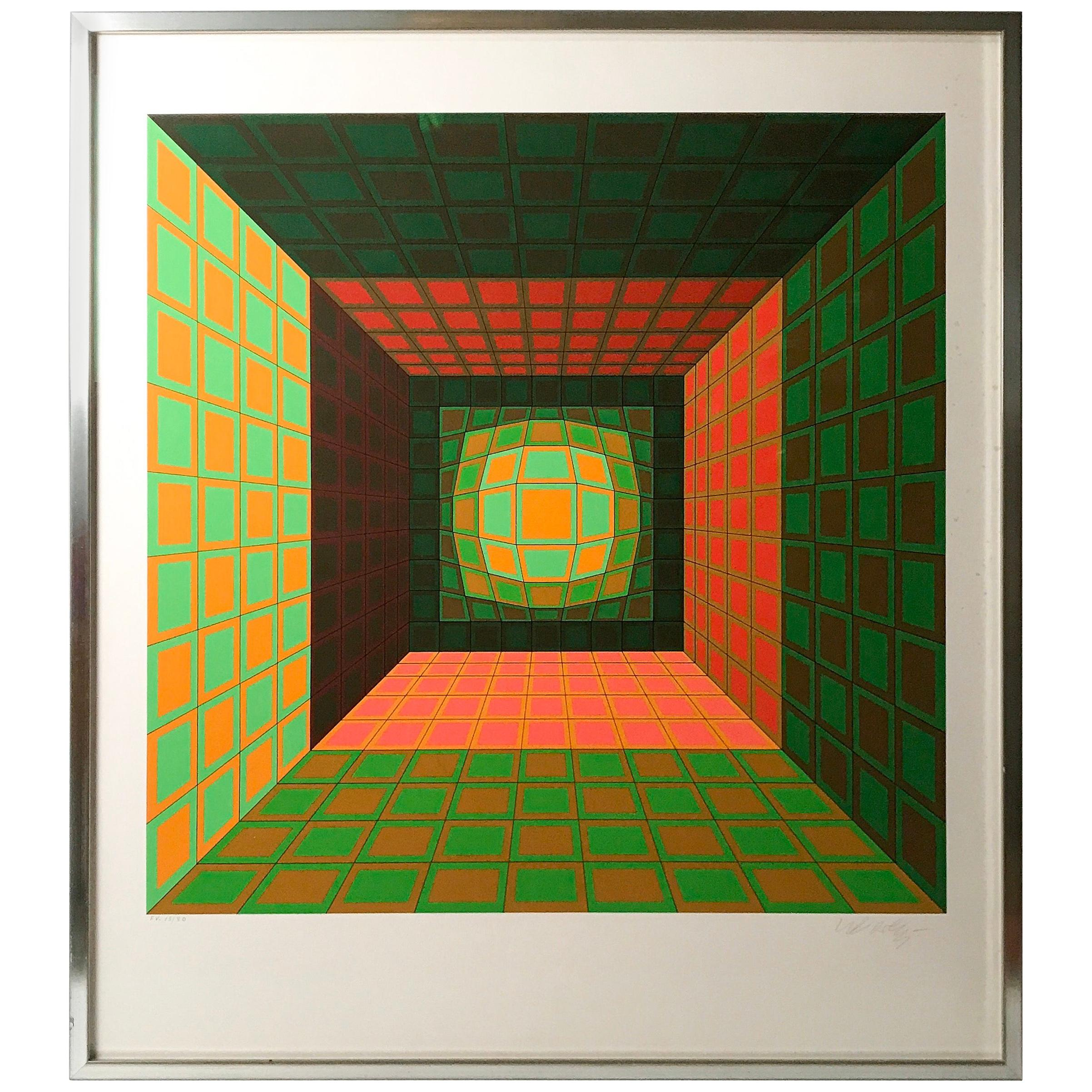 """Victor Vasarely Numbered and Signed Silkscreen Print """"Kaldor"""", 1975"""