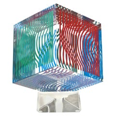 Victor Vasarely Op Art Acrylic Cube Sculpture Vintage