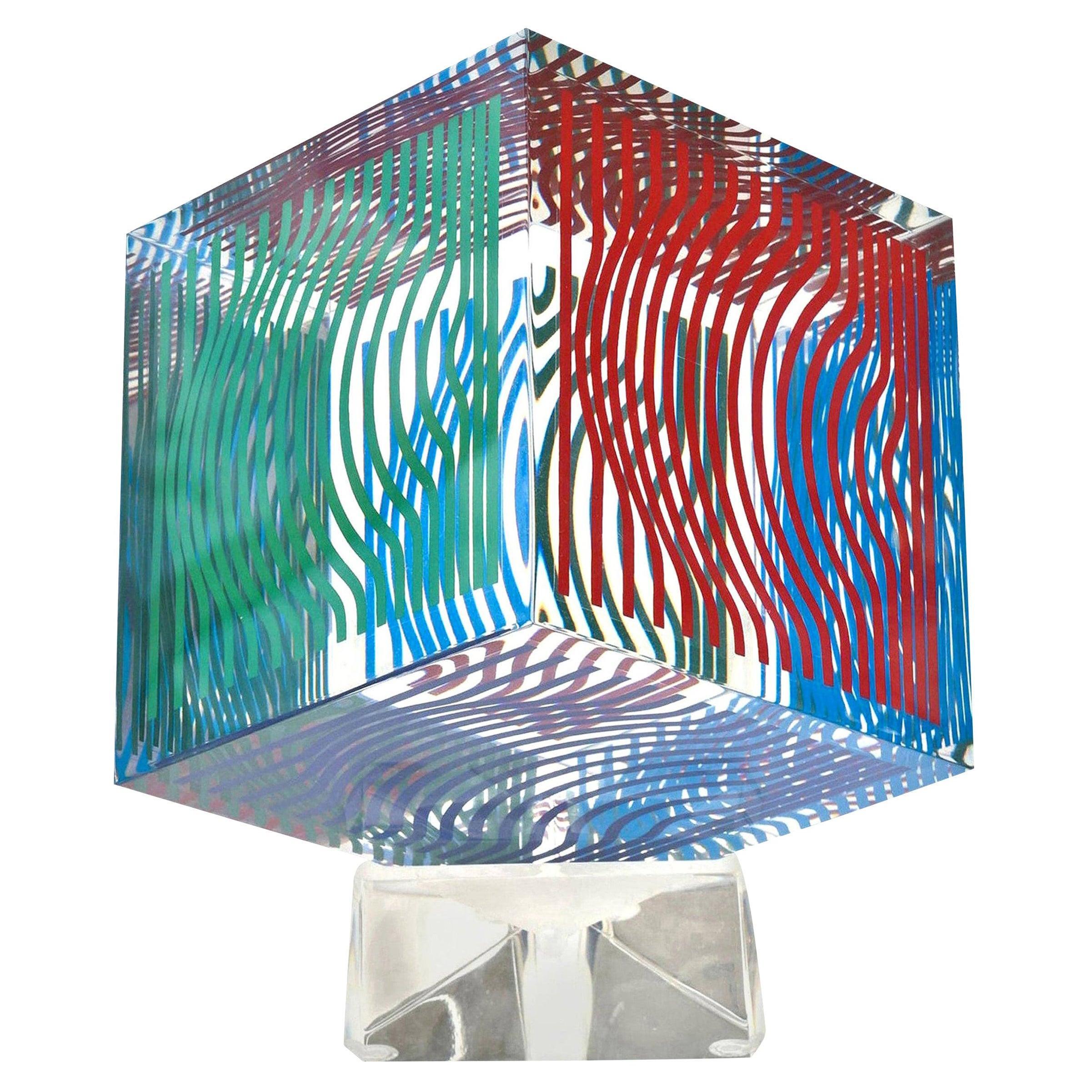 Victor Vasarely Op Art Acrylic Cube Sculpture Vintage