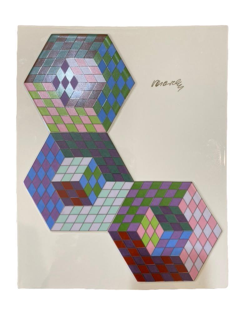 Very nice plaque for the well known artist Victor Vasarely, plaque signed in front and marked in back as shown. Zsolnay and has a dedication in back as well. Plaque alone measures approximate 12.75 x 10.5. inches.