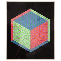 Victor Vasarely 1970s Op Art Cube Signed Serigraph