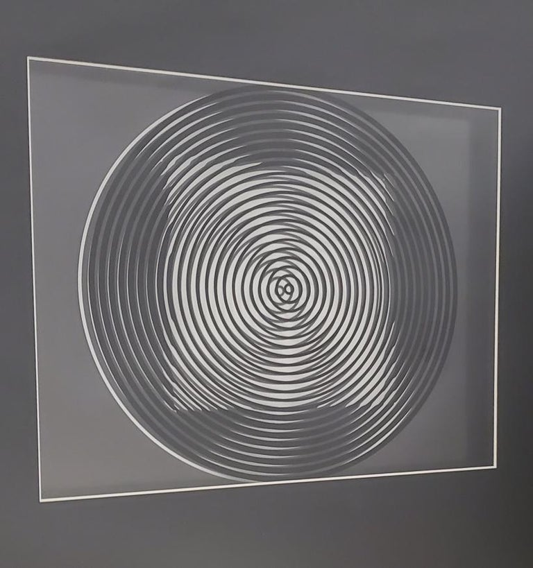 Glass Victor Vasarely Original Optical Illusion Art For Sale