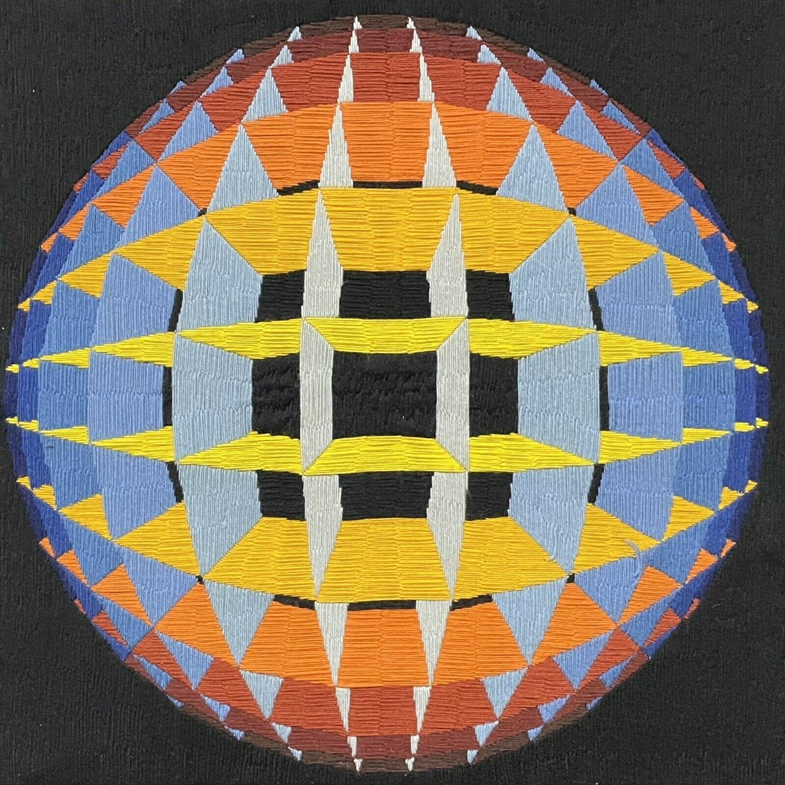 1980's FRENCH OP ART GEOMETRIC SPATIAL ABSTRACT ORIGINAL WOOLWORK - VASARELY